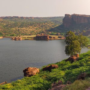 Badami lake with Bhootnath temple complex
